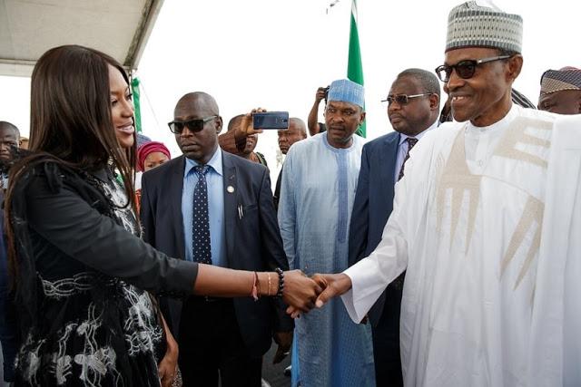 Naomi Campbell in Nigeria, meets President Buhari