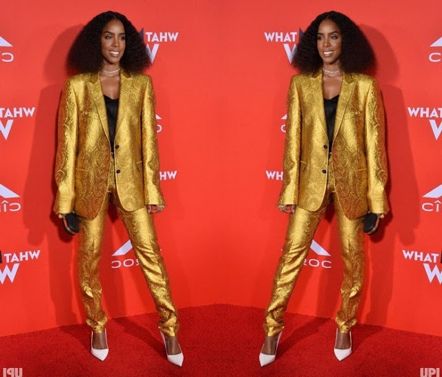 People are living for this Kelly Rowland's gold pantsuit