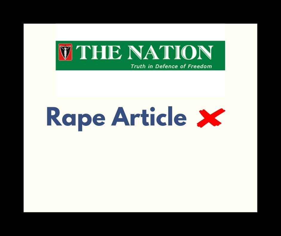 The Nation's article says rape is caused by women, musicians and filmmakers