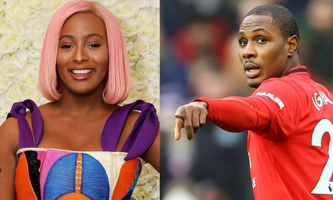 DJ Cuppy receives signed Man Utd jersey from Odion Ighalo