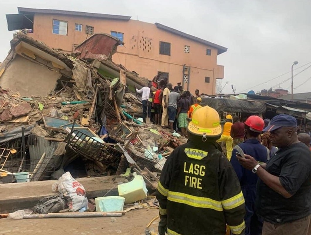 Three-storey building collapses in Lagos Island, one dead and others trapped