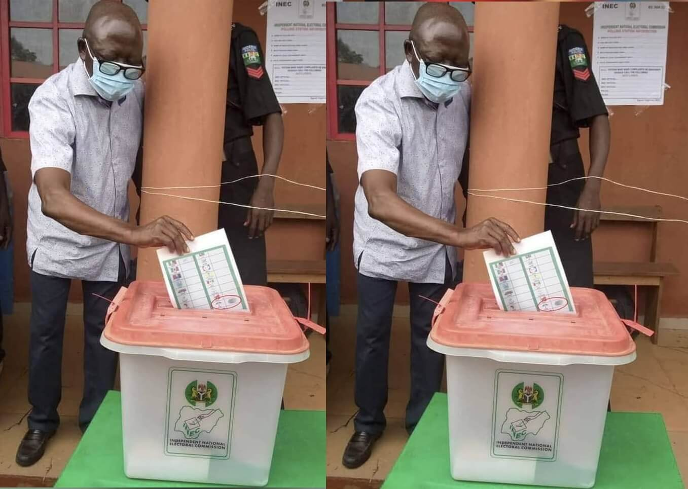 Edo Election: Doctored image of Oshiomole voting for PDP trends online