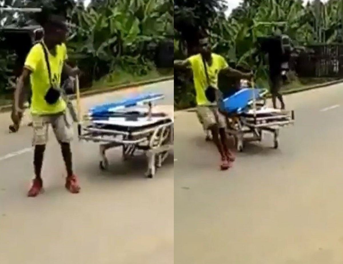 Suspected looter seen dragging hospital bed from Calabar psychiatric hospital